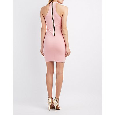 Choker Neck Mesh-Trim Dress
