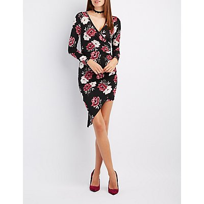 Floral Surplice Asymmetrical Dress