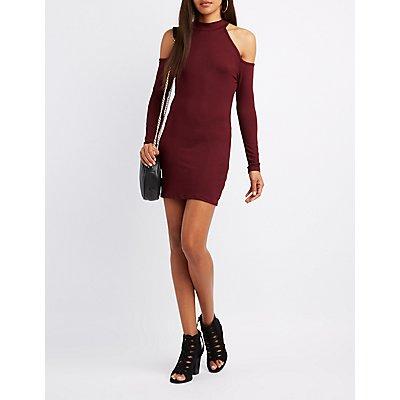 Mock Neck Cold Shoulder Dress