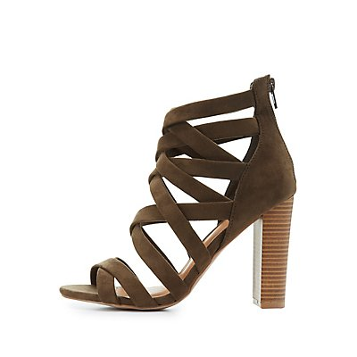 Faux Suede Strappy Dress Sandals
