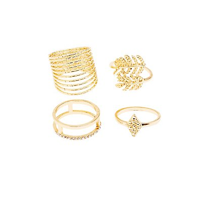 Plus Size Embellished Stackable Rings - 4 Pack
