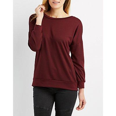 Lace-Up Back Sweatshirt