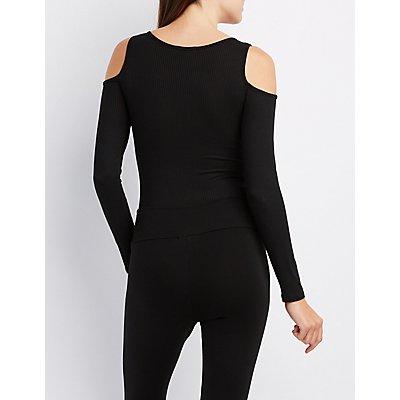 Just Peachy Cold Shoulder Bodysuit