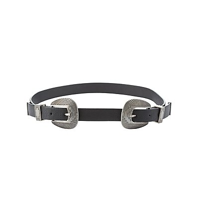 Plus Size Faux Leather Double Buckle Belt
