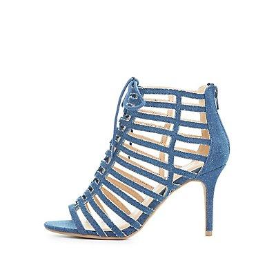 Denim Caged Lace-Up Sandals