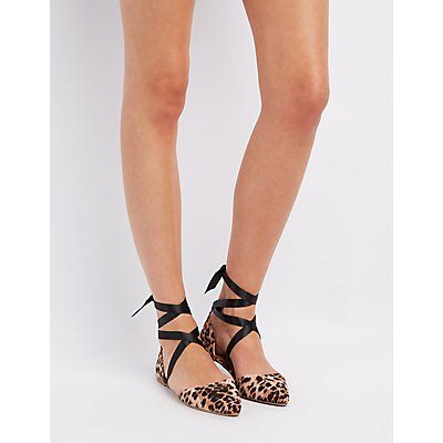 Leopard Ankle-Tie D'Orsay Flats