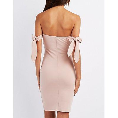 Notched Shoulder-Tie Bodycon Dress
