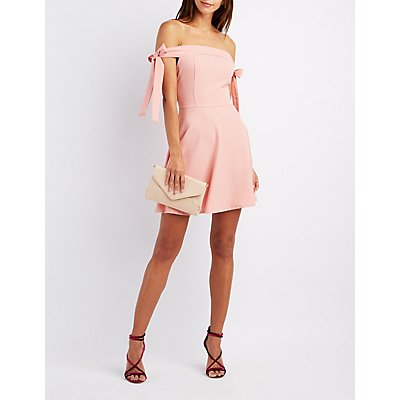 Tied Off-The-Shoulder Skater Dress