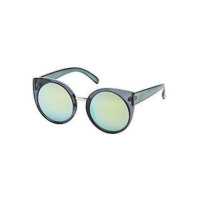 Round Reflective Cat Eye Sunglasses