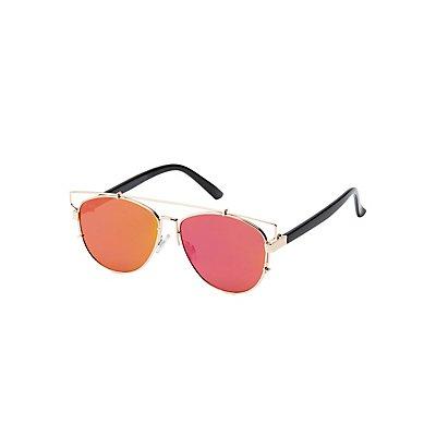 Metal Brow Bar Reflective Sunglasses