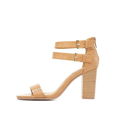 Topstitch Strappy Sandals