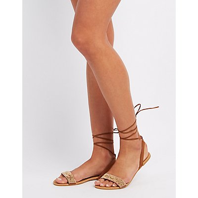 Beaded Lace-Up Sandals