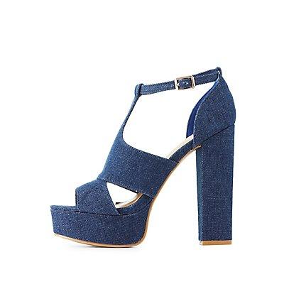 Bamboo Denim Platform Dress Sandals