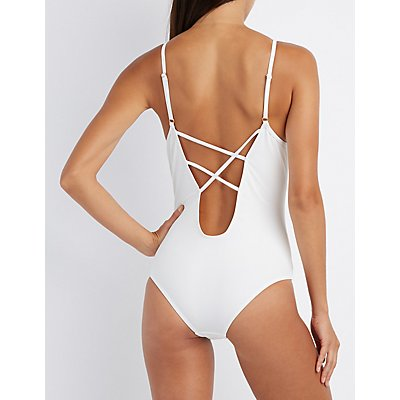 Lattice Back One-Piece Swimsuit