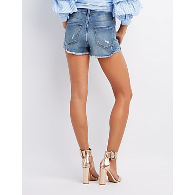 Refuge High Rise Cheeky Denim Shorts