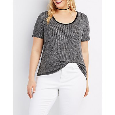 Plus Size Ribbed Ringer Tee