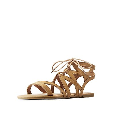 Caged Lace-Up Gladiator Sandals