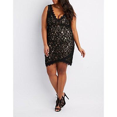 Plus Size Lace Soutache Bodycon Dress