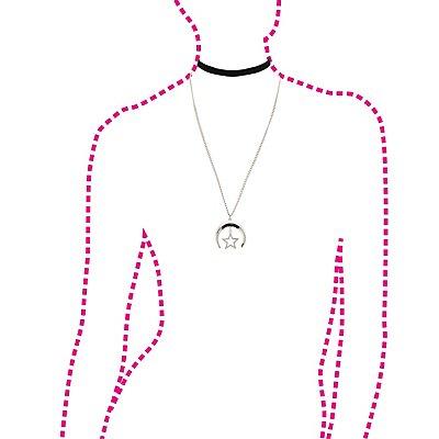 Velvet Choker & Moon Chain Necklaces - 2 Pack