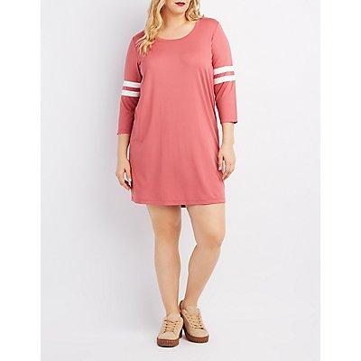 Plus Size Varsity Stripe T-Shirt Dress
