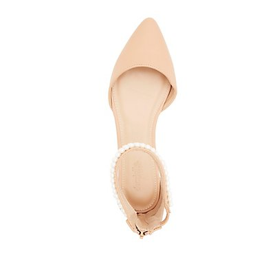 Pearl Bead-Trim Pointed Toe Flats