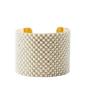 Plus Size Pearl Bead Cuff Bracelet