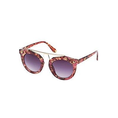 Printed Metal Brow Bar Sunglasses