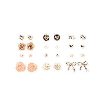 Mixed Stud Earrings - 12 Pack