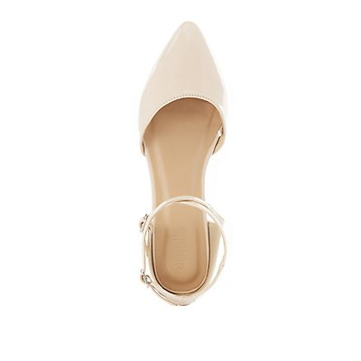 Patent Caged Ankle Pointed Toe Flats
