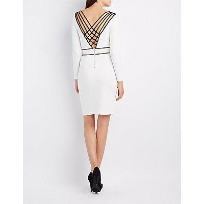 Two-Tone Lattice Bodycon Dress