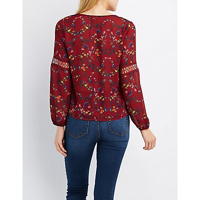 Floral Crochet-Trim Blouse