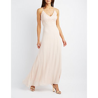Lace & Chiffon Strappy Maxi Dress