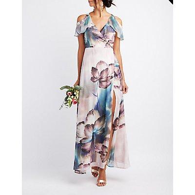 Floral Surplice Cold Shoulder Maxi Dress