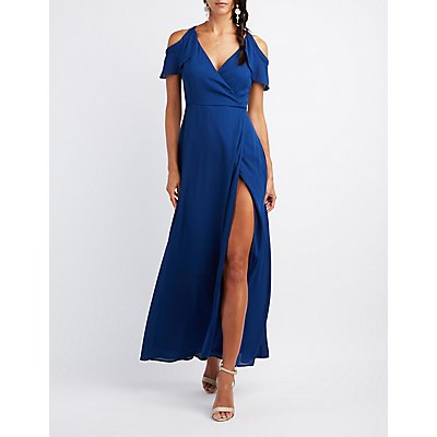 Surplice Cold Shoulder Maxi Dress