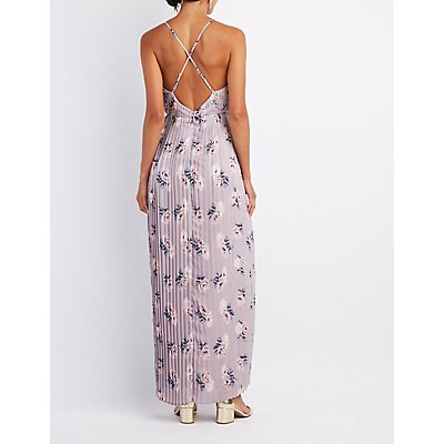 Floral Pleated V-Neck Maxi Dress