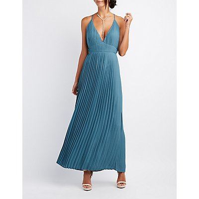 Pleated V-Neck Maxi Dress