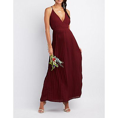 Pleated V-Neck Maxi Dress