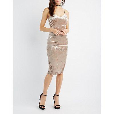 Crushed Velvet Midi Dress