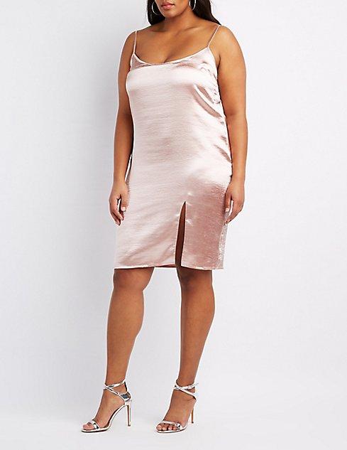 Plus Size Satin Slip Dress Charlotte Russe