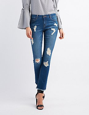Refuge Distressed Frayed Hem Skinny Jeans