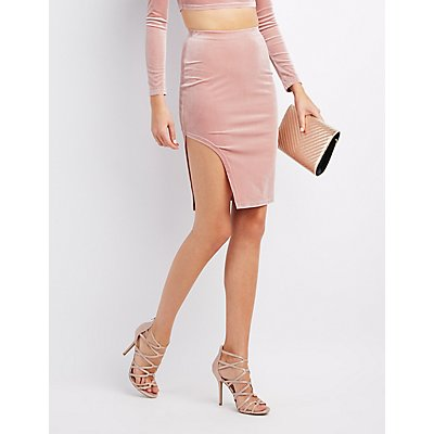 Velvet Slit Pencil Skirt
