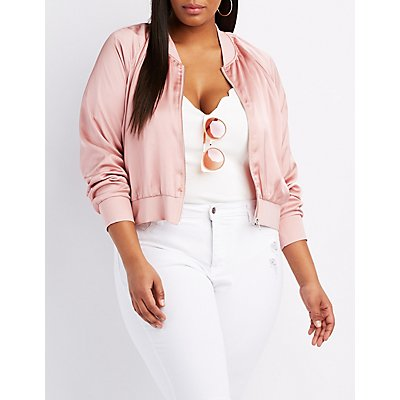 Plus Size Satin Cropped Bomber Jacket