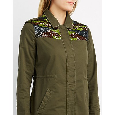 Sequin Embellished Anorak Jacket