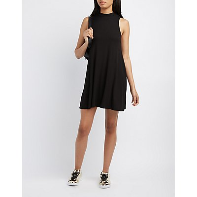 Mock Neck Trapeze Shift Dress