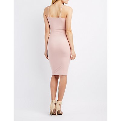 Faux Suede Lace-Up Bodycon Dress