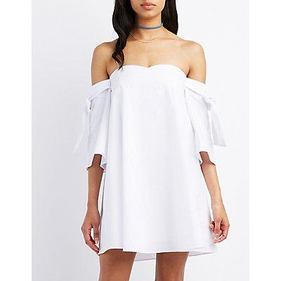 Poplin Off-The-Shoulder Dress