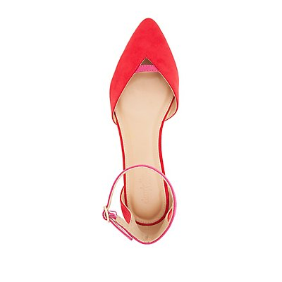 Colorblock Pointed Toe Flats