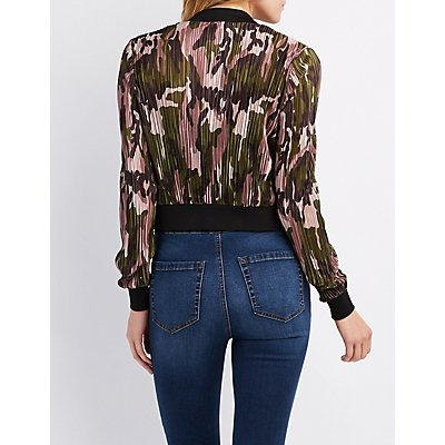 Camo Micro Pleated Bomber Jacket