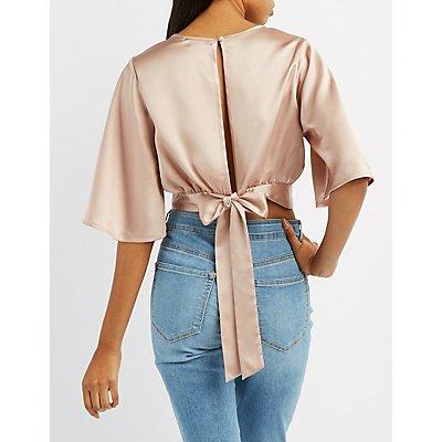 Satin Cut-Out Kimono Crop Top
