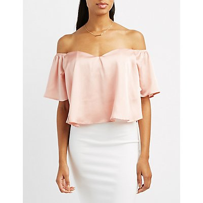 Satin Sweetheart Off-The-Shoulder Top